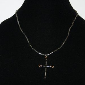 Vintage silver and black glass bead cross necklace